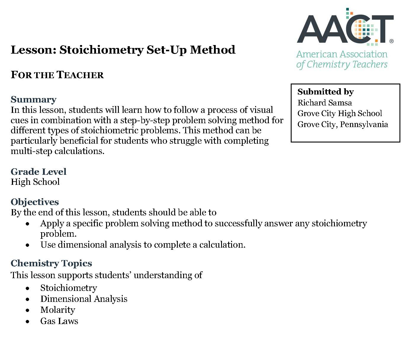 periodical stoichiometry set up method aact file