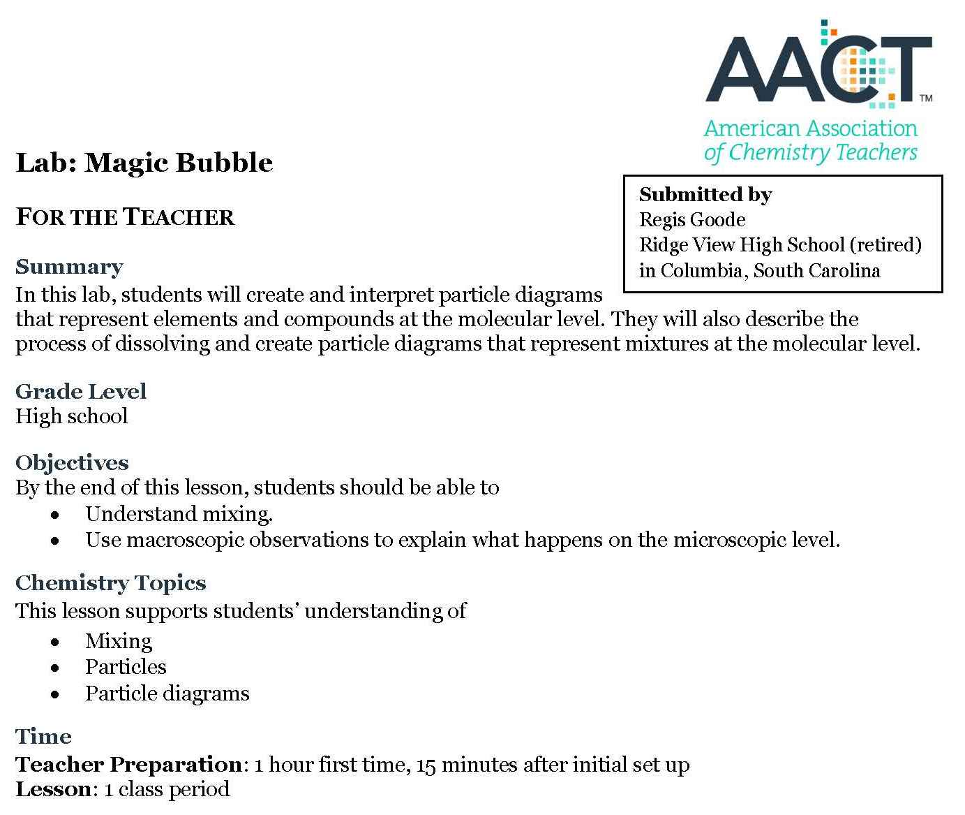 Magic bubble lab first page