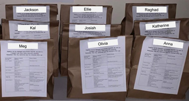 labeled paper bags for students